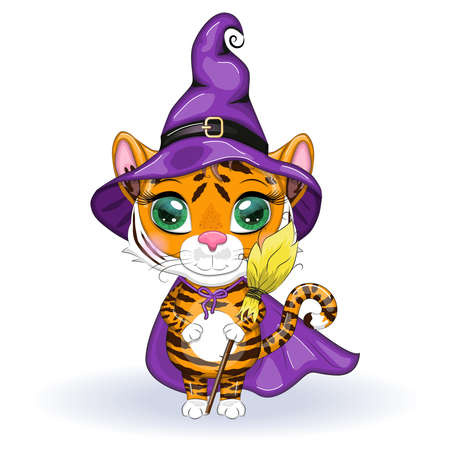 Cute cartoon tiger with beautiful eyes, orange in a purple cloak and witch's hat, with a broom and pumpkins. Halloween 2022. Çizim