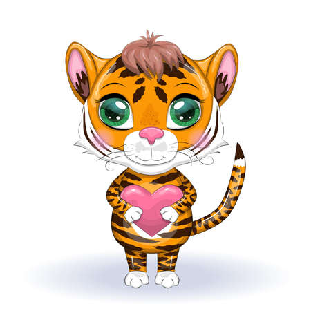 Cute cartoon tiger with beautiful eyes, bright, orange with heart, greeting card, valentine. Illustrations for Chinese New Year 2022, Year of the Tiger.
