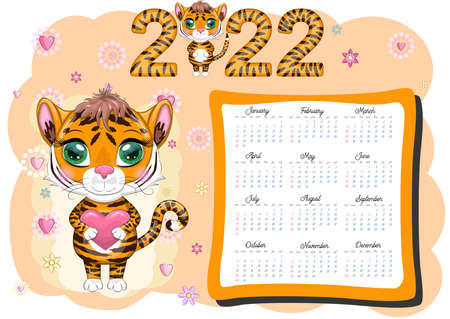 Calendar 2022. Tiger - a symbol of the new year, Cartoon tiger. Chinese horoscope calendar, horizontal A4 format, calendar for 12 months. Week starts on Sunday