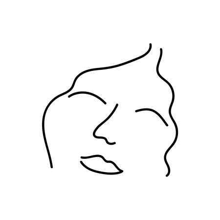 Modern Abstract Face Portrait. Linear Ink Brush. Line Art. Fashion Style Black And White Abstraction Poster.