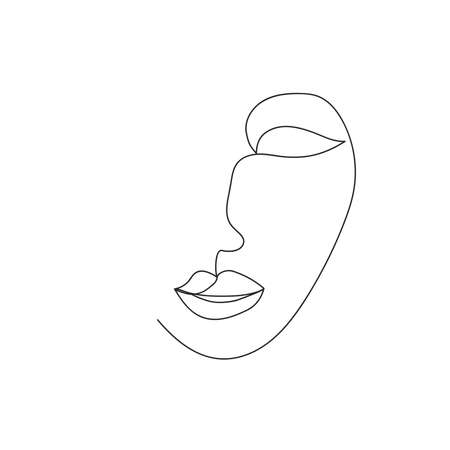 Continuous line, drawing of set faces and hairstyle, fashion concept, woman beauty minimalist, illustration design print Çizim