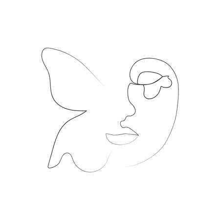 Portrait minimalistic style. Half of the face is female, half of the face is a butterfly wing. Beauty concept. lashes follow contour of butterfly's wing. The woman inside