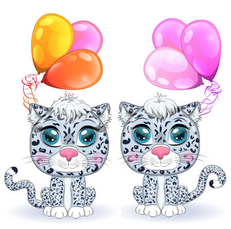Cartoon snow leopard couple with expressive eyes with balloons, holiday concept, birthday. Wild, rare animals, character, children s cute style. Çizim