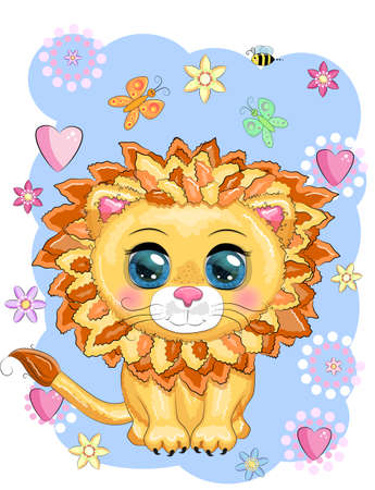 Cartoon lion with expressive eyes. Wild animals, character, childish cute style. Çizim