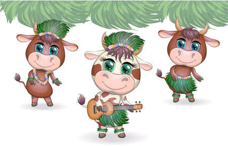 Tropical new year 2021, celebration. Group of cows and bulls as hula dancers with acoustic ukulele guitars, Hawaii.