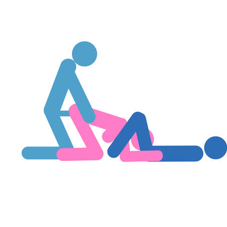 Cartoon pose of sex. Erotic style passion concept flat design. Kamasutra, schematic positions for making love. Blue and pink, bisexual, men and women love each other