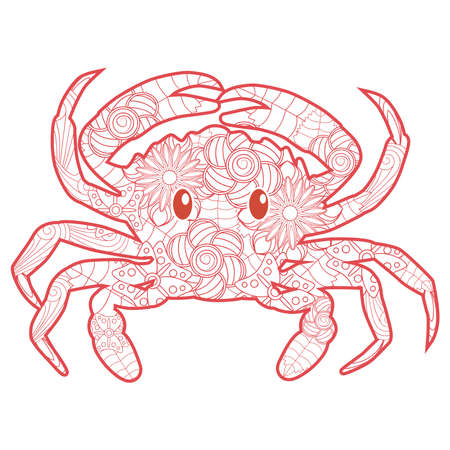 Hand drawn crab for coloring book for adult, tattoo, shirt design