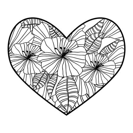 heart-shaped pattern for coloring book in style.