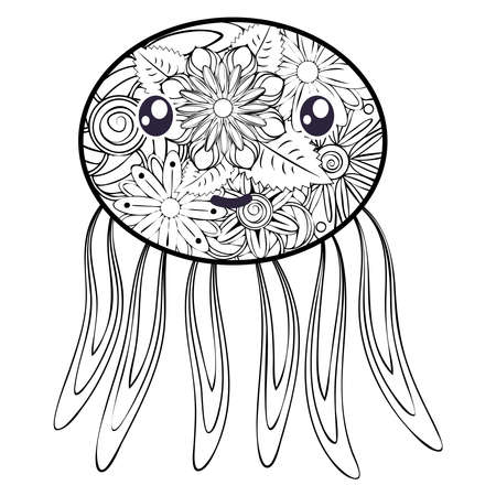 Hand drawn jellyfish in black and white doodle style. Pattern for coloring book