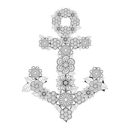 Hand drawn illustration of romantic sea anchor entwined with rose flowers, anchor, flower