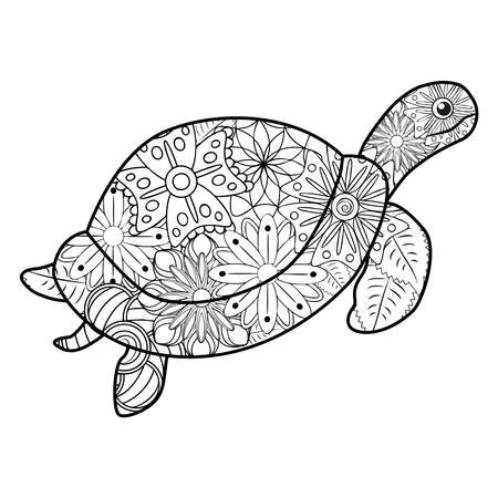 stylized turtle. Animals. Hand drawn doodle. Ethnic patterned illustration. African, Indian, totem tattoo design