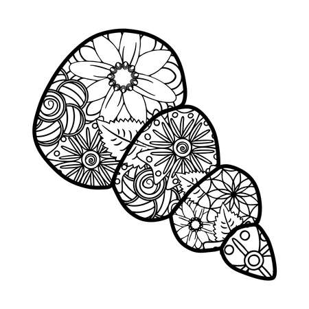 Sea shells, whale, lizard, heart, paisleys, flowers Elements for adult coloring book patterns tattoos