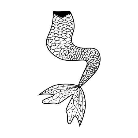 Beautiful mermaid in style, patterned mermaid tail, anti stress coloring book for adults