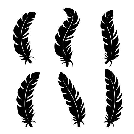 illustration of an old feather. Feather feather silhouette. Retro image of letter with feather icon