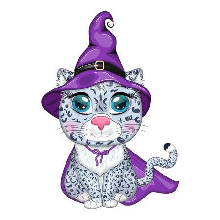 Cartoon snow leopard, leopard, akbars, irbis in purple witch hat and cloak. Halloween.