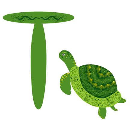 Green Scandinavian style turtle with painted shell pattern hand drawn. Letter T, children's alphabet for preschoolers.