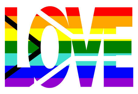 LGBT pride flag, Gay Pride Flag of South Africa. Multicolored peace flag movement. Original colors symbol. In the form of the word love Vetores