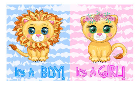 Baby Shower greeting card with Cute boy and girl. Cartoon lion with expressive eyes. Wild animals, character, childish cute style. Иллюстрация