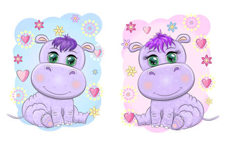 Two Cute cartoon hippo with beautiful eyes among flowers, hearts, a boy and a girl. baby shower invitation card.