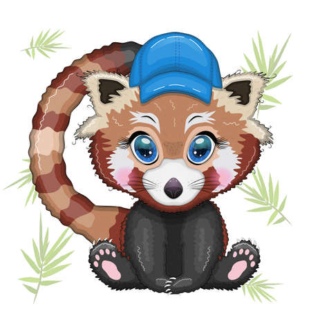 Red panda boy in blue cap hat, vacation, summer concept.