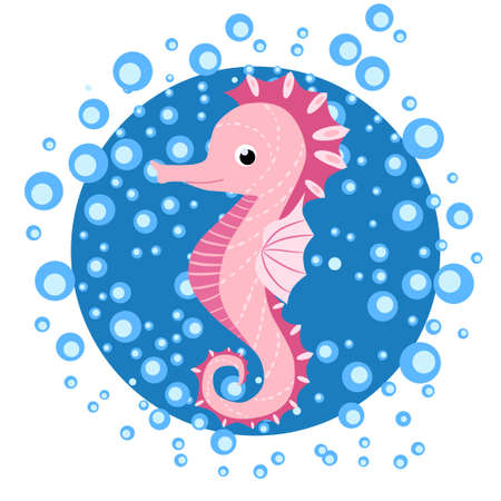 Seahorse, Scandinavian-style hippocampus, hand drawn, in water bulbs, pink girl Иллюстрация