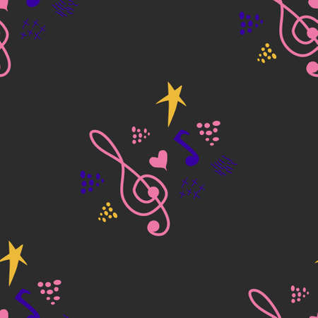 Classic musical patterns, with sheet music and treble clef, great designs for any purpose. Abstract retro texture. Sample badge