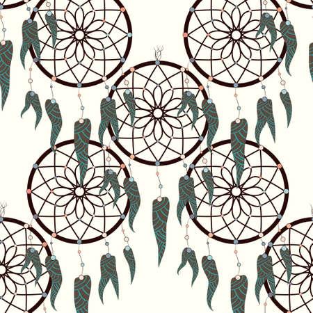 Dreamcatcher pattern in retro style. Hand drawn seamless pattern. Fashion print. Boho vintage style background. Иллюстрация
