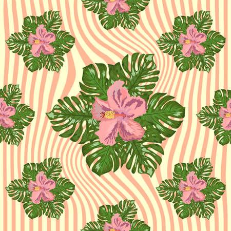 Floral exotic tropical seamless pattern tropic hawaiian wallpaper. Botanical print. Modern floral background. Фото со стока