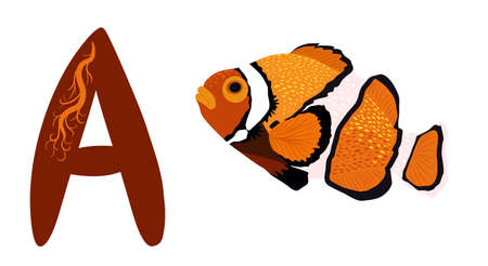 Letter A and Amphiprion, Orange bright sea-dweller clownfish, hand drawn. Children s bright alphabet for preschoolers Иллюстрация