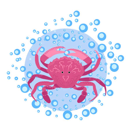 Funny red crab hand drawn among water bubbles. Cute marine life, Scandinavian style, detailed. Иллюстрация