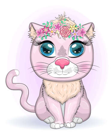 Cute cartoon pink cat, kitten with expressive eyes among flowers, hearts, decorative elements.