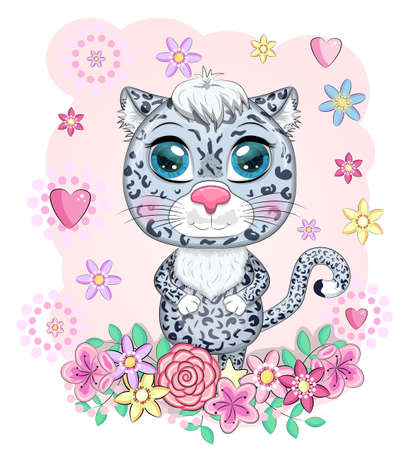 Cartoon snow leopard with expressive eyes among flowers, hearts, decorative elements. Wild animals, character, childish cute style