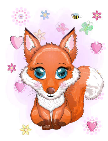 Fox is a cute character with beautiful eyes among flowers and hearts