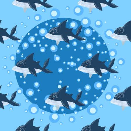 seamless pattern Shark in Scandinavian style surrounded by fish, starfish, seaweed, seashells, hand drawn