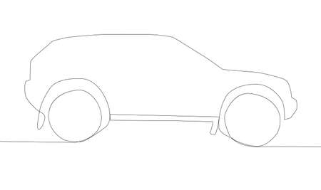 continuous line drawing of motor car, automobile Иллюстрация