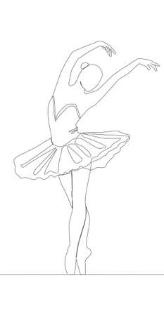 Self drawing animation of continuous line drawing of woman ballet dancer.