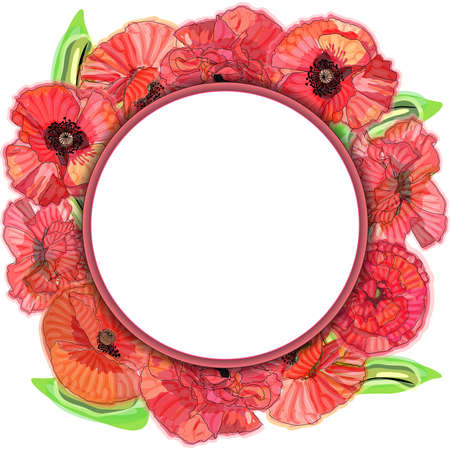 Poppy flower wreath, round frame, sketch and imitation watercolor.