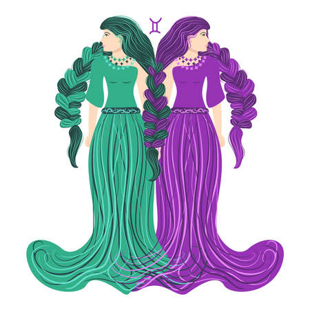 Zodiac, Gemini zodiac sign illustration as a beautiful girl with braids. Vintage zodiac boho style fashion illustration in pastel colors.