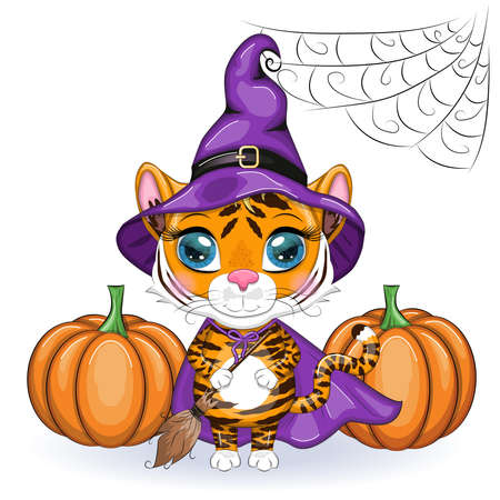 Cute cartoon tiger with beautiful eyes, orange in a purple cloak and witch's hat, with a broom and pumpkins. Halloween 2022. Иллюстрация