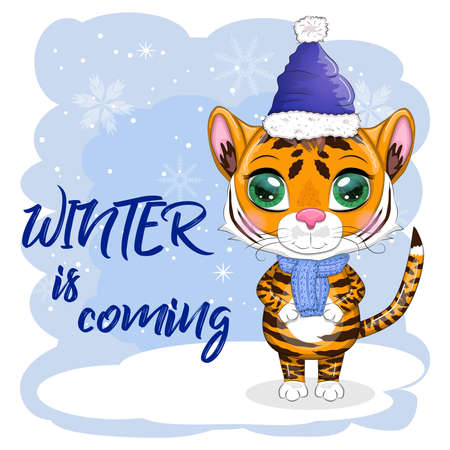 Cartoon tiger in a hat and scarf on a winter background, Winter is coming. Children's stylistics, cute. Symbol of 2022 New Year and Christmas