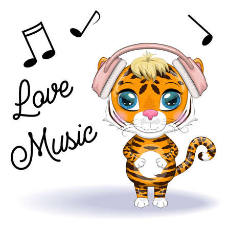 Cute cartoon tiger with beautiful eyes in headphones, love of music. Illustrations for Chinese New Year 2022, Year of the Tiger. Lunar new year 2022