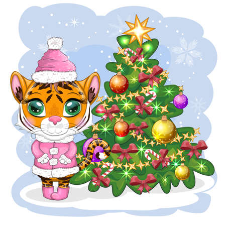 Cartoon tiger in a hat, fur coat, boots wishes Happy New Year 2022 near the Christmas tree. Children's style, sweetheart. Symbol of the year 2022. Greeting card