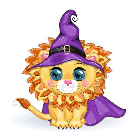 Cute cartoon leo with beautiful eyes, orange in a purple witch's hat and cloak. Halloween 2022. Иллюстрация