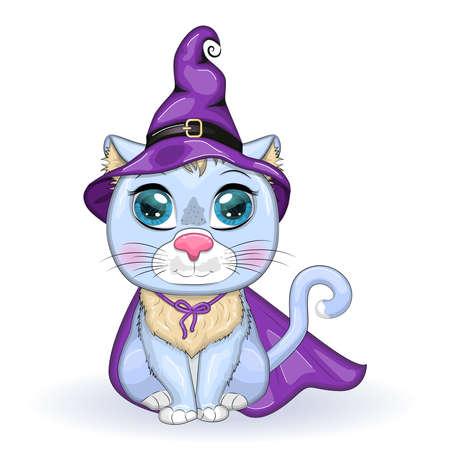 Cartoon cat wearing a purple witch hat and cloak. Halloween poster Иллюстрация