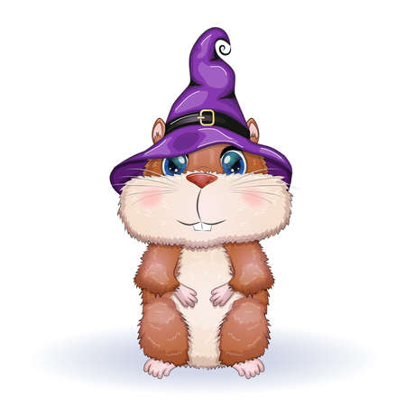 Cartoon hamster wearing purple witch hat with broom, potion or pumpkin jack. Halloween poster