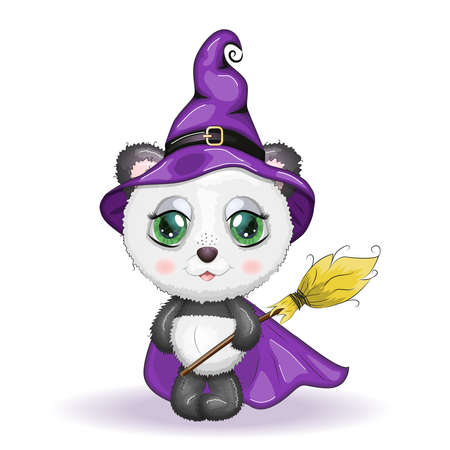 Cartoon panda with potion and broomstick wearing purple witch hat and cloak. Halloween poster