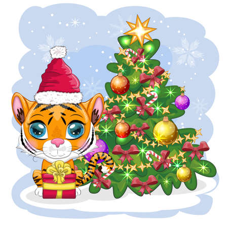 Cartoon tiger in a hat and scarf with a gift near the Christmas tree. Winter time. Children's style, sweetheart. Happy New Year 2022 and Merry Christmas. greeting card Иллюстрация