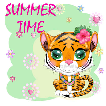 Cartoon tiger hula dancer. Hawaii, Vacation, Sea. Summer is coming. Children's style, sweetheart. Symbol of the New Year 2022