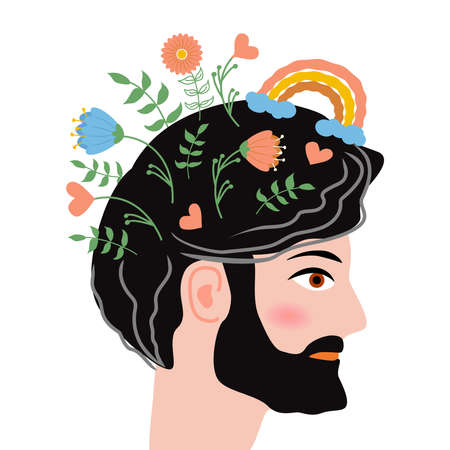 Conceptual illustration of caring growing flowers as a concept for developing positive thinking and caring for our mental health.