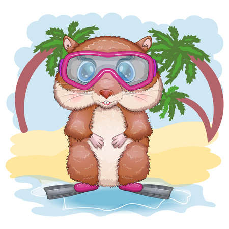 Cute hamster in flippers and glasses, summer concept, hamster cartoon characters, funny animal character.